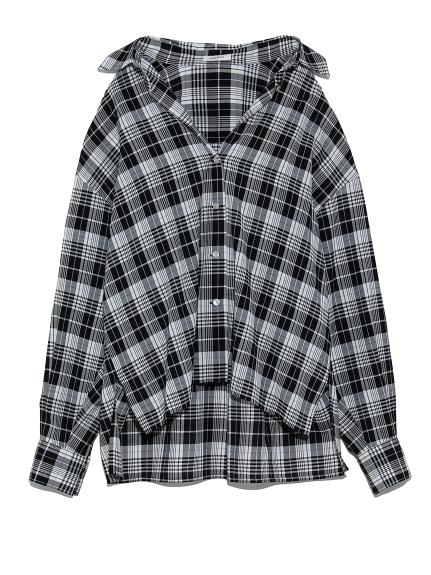 チェックシャツ(BLK-F)