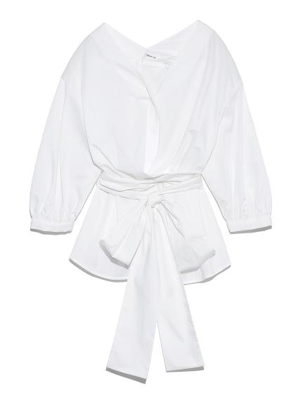 Vネック立体リボンシャツ(WHT-F)