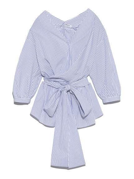 Vネック立体リボンシャツ(BLU-F)