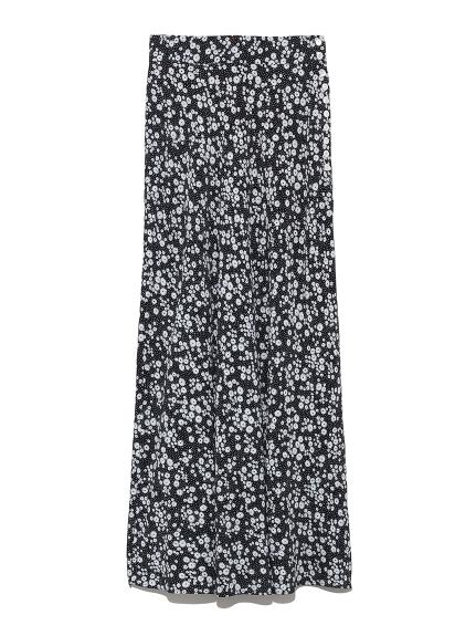ナローフレアフラワースカート(BLK-0)