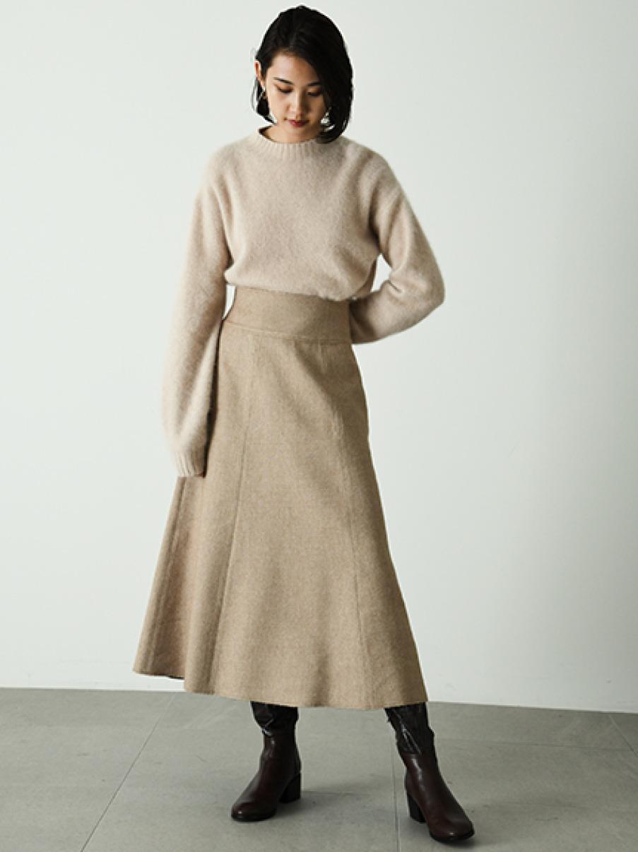 ウールロングフレアスカート(BEG-0)