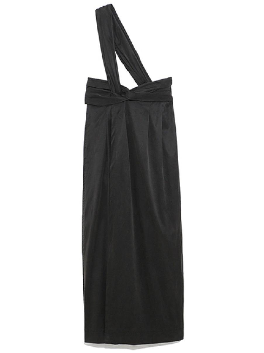 ワンショルダーロングスカート(BLK-0)