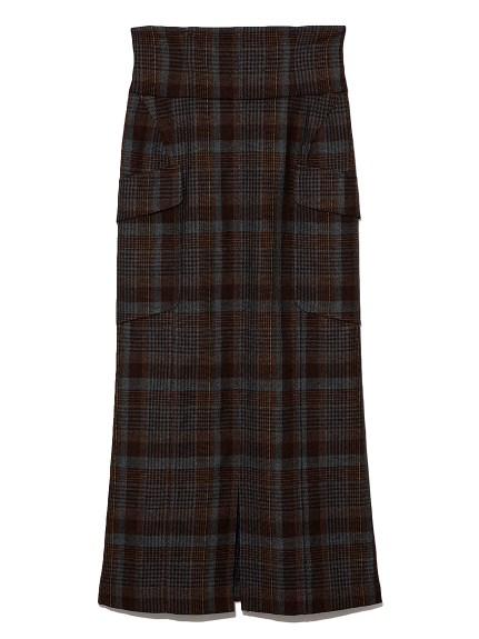 ハイウエストAラインスカート(CHECK-0)